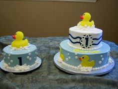 10- and 6-inch Buttercream with a 6-inch matching smash cake with fondant accents.