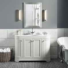 The Laura Ashley Bathroom Collection Is Now Available Roman Bathroomsis free HD Wallpaper. Thanks for you visiting The Laura Ashley Bathroo. Bathroom Sink Units, Small Bathroom, Bathrooms, Bathroom Ideas, Bathroom Wall Cabinets, Family Bathroom, White Bathroom, Master Bathroom, Bathroom Interior