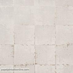 Papel Pintado Milan CO00142, papel de cuadrados con efecto desgatado en los bordes en color beige.