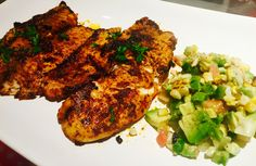 Blackened Tilapia with corn and avocado salad