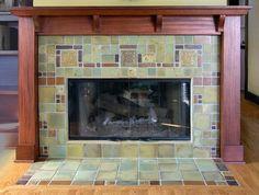 A geometric fireplace by Pasadena Craftsman Tile.