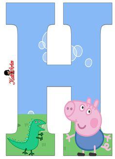George Pig  Alphabet. Alfabeto de George Pig. Bolo Da Peppa Pig, Peppa Pig Teddy, Cumple Peppa Pig, Cumple George Pig, George Pig Party, Peppa Pig House, Pig Birthday, Birthday Cakes, Party Items