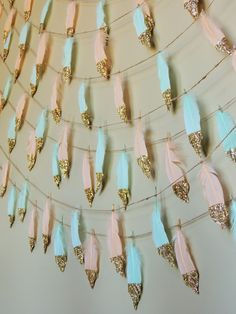 Peach Mint Glitter Dipped Feather Banner Garland or single feathers Boho Decor Nursery Baby Shower Birthday Decor Feather Garland Tribal by JadeandJoStudio on Etsy