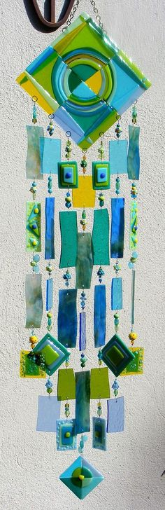 Kirk's Glass Art Fused Stained Glass Wind Chime by kirksglassart