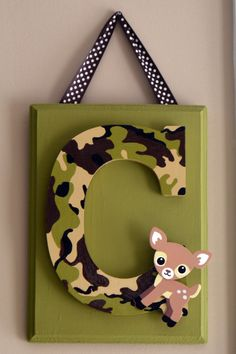 """Personalized hand painted custom letters, 9 inch wood letters mounted on 11.5""""x8.5"""" painted board, Nursery decor, camouflage, camo, owl/deer"""
