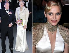 Princess Charlene opted for a part-princess, part-biker look, styling her custom Ralph Lauren gown with a fitted Ralph Lauren 'Davidson' biker jacket.- Bal de la Rose du Rocher