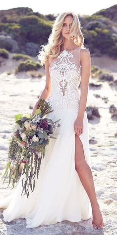 In general, the choice of beach wedding dresses is endless. Such a romantic type wedding is much deserving of a simple sexy wedding dress. Wedding Robe, Lace Beach Wedding Dress, Stunning Wedding Dresses, 2016 Wedding Dresses, Boho Wedding, Bridal Dresses, Wedding Gowns, Wedding Beach, Summer Wedding