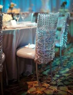 Crystal and rhinestone chair covers!