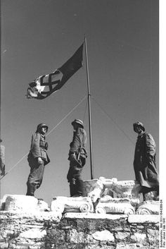 The Swastika flies from atop the Acropolis in Athens Greece.