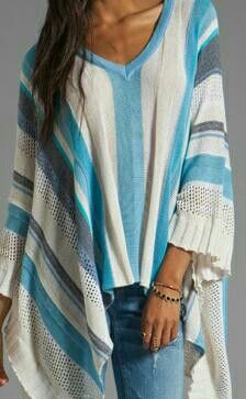 Love a poncho! Blue and white striped with V neck.