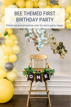 Happy First Bee-Day! The perfect theme to celebrate a first birthday! First Birthday Party Themes, Fun Party Themes, Baby Boy 1st Birthday, Birthday Ideas, Party Ideas, Bee Party, Balloon Ideas, Bee Crafts, Bee Theme