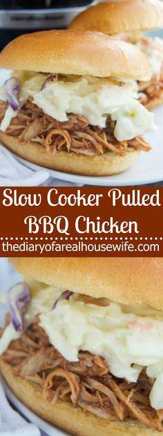 Slow Cooker Pulled BBQ Chicken. Super easy meal that your family will love!