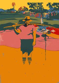 "© Ivan Canu cover for Manuel Vàzquez Montalbàn ""I mari del Sud"", Feltrinelli ed. Ad: Cristiano Guerri. #PepeCarvalho #catalan literature #books #book covers #conceptual #portrait #Gauguin"