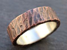 mens wedding band copper rustic mens ring copper by CrazyAssJD