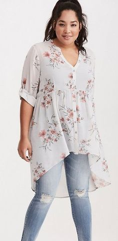 Plus Size Chiffon Button Tunic I like the style of this but it is too long in the back