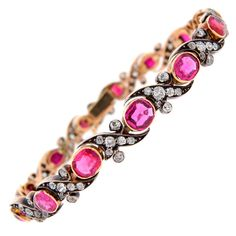 Victorian Ruby Diamond Silver Gold Bracelet