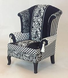 How fun is this black and white mini wingback chair by the talented Kari Bloom? Miniature Chair, Miniature Furniture, Dollhouse Furniture, Barbie Furniture, Funky Furniture, Painted Furniture, Painted Dressers, Plywood Furniture, Furniture Design