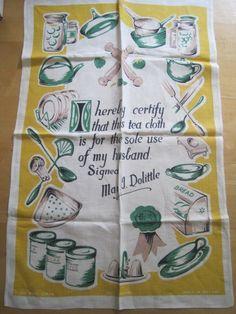 Vintage Funny Housewife Tea Towel