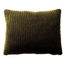 Coussin vert kaki tricoté