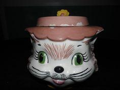 Vintage Cat Head Ceramic Cookie Jar Flower Hat Green Brown Yellow Storage | eBay