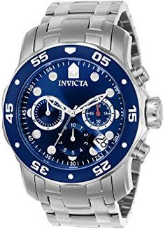 Invicta Men's 0070 Pro Diver Collection Analog Chinese Quartz Chronograph Silver Stainless Steel Watch