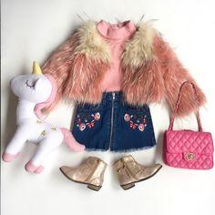 Toddler Girl Fashion Winter Fur Coat Boots Denim Skirt Skivvy Bag