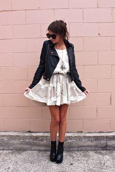 Flirty dress + leather