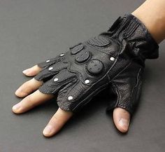 Mens-Stud-Biker-Punk-Driving-Motorcycle-Fingerless-Leather-Gloves-LB06