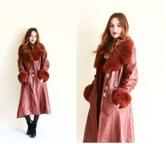 70s faux leather coat  trench coat  long burgundy by YatesVintage