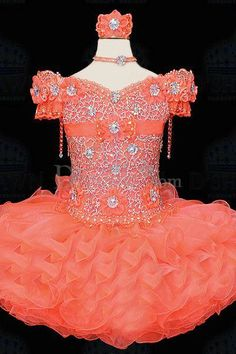 Royal Style Off-The-Shoulder Rhinestones Flower Girl Gown
