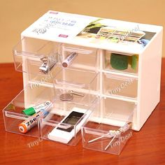 Convenient Plastic Storage Box Mini Multi-Boxes 9 Drawer for Small Gadgets - Color Assorted HHI-252014