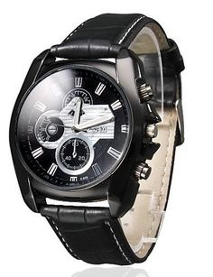Herren Business Style schwarz Zifferblatt PU Leder Band Quarz Armbanduhr - http://uhr.haus/oofay/herren-business-style-schwarz-zifferblatt-pu