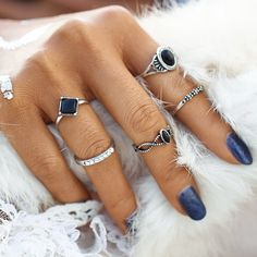 5PCS/Set Fashion Vintage Bohemian Turkish Midi Ring Set Steampunk Knuckle Rings for Women Anel Joint Ring