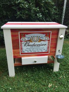 Wooden Budweiser cooler DIY Wood Cooler, Patio Cooler, Diy Cooler, Outdoor Cooler, Coolest Cooler, Backyard Bar, Backyard Retreat, Drink Coolers, Wood Projects