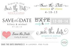 Save the Date Overlays Layered .psd. Wedding Fonts