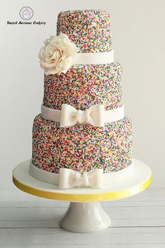 Sprinkles Wedding Cake - I think this is one of the most joyful cakes that have left our kitchen. Prepared for a most lovely couple Corina and Stewart for their event at Ancaster Mill, ON Canada. #weddingcake #funweddingideas #sprinklescake #colourfulcake #happy