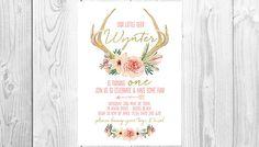Antler Boho Girls Birthday Invitation Printable / Digital File / Bohemian / Watercolour / Watercolour from Casey Joan Design Etsy Store