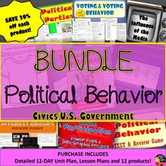 Political Behavior BUNDLE (CIVICS/U.S.Government)  This product includes everything you need to teach a 12-day unit on Civil Liberties and Civil Rights for your secondary Civics/American Government class.  Purchase in BUNDLE and you will automatically save 20% off of each product! A pacing guide and detailed lesson plans are included!