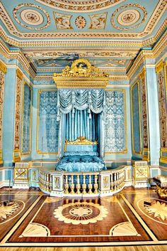 marie antoinette blue and gold bedroom #antiquedealers #interiors #architecture…