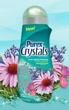 Purex Crystals - Fresh Mountain Breeze scent. These 87% natural crystals go in at the start of the wash, so they spend more time infusing laundry with long-lasting mountain freshness. #ScentsationalSpringWithPurex