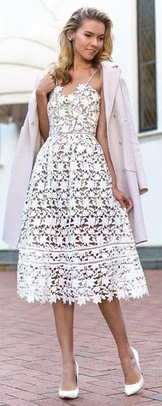 Pink Coat + White Lace Midi Dress                                                                             Source