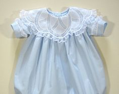 Scalloped Yoke Embroidered Dress with Feather Stitched Bows