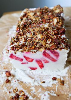 Little Market Kitchen: Coconut, Lemon, and Strawberry Semifreddo Low Sugar Recipes, No Sugar Foods, Recipes Using Fruit Puree, Low Sugar Ice Cream, Baked Alaska, Eton Mess, Healthy Sweets, Ice Cream Recipes, Dessert Recipes