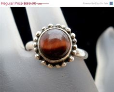 On Sale Today Tigers Eye Ring Sterling Silver Vintage Hand Wrought Natural Gemstone Size 8 Fall Jewelry, Summer Jewelry, Jewlery, Eye Jewelry, Artisan Jewelry, Antique Jewelry, Vintage Jewelry, Amethyst Gemstone, Gemstone Rings