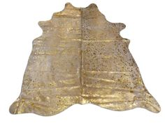 i-061 Gold Metallic Cowhide rug on Off White 7' X by Cowhidesusa