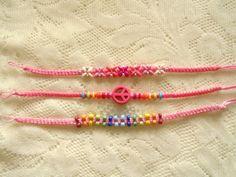 Friend bracelet Pink friendship bracelet Pink by OneOfferJewelry