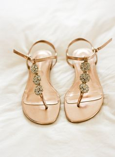 Ralph Lauren flat jeweled sandals for the beach bride
