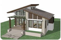 Small home design plan with one bedroom. The lines of the modern style roof are unusual Small House Design, Modern Roof Design, House Roof Design, Building A Porch, House With Porch, Tiny House Living, Modern House Plans, One Bedroom, Bungalow