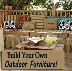 Build your own deck furniture. What will have to happen since the Deck Furniture Fairy refuses to stop by. Diy Outdoor Furniture, Deck Furniture, Outdoor Decor, Furniture Ideas, Pallet Furniture, Pallet Bench, Painted Furniture, Pallet Sectional, Pallet Seating