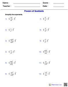 Powers Of Quotients Worksheet Answers - Algebra 1 Worksheets Mathematics Worksheets Exponent Worksheets Algebra 1 Worksheets Exponents Worksheets Powers Of Products And Quotients Worksheet F. Math Division Worksheets, Multiplication Facts Worksheets, Properties Of Multiplication, Chemistry Worksheets, Subject And Predicate Worksheets, Printable Math Worksheets, Kids Math Worksheets, Algebra 1 Textbook, Algebra 2